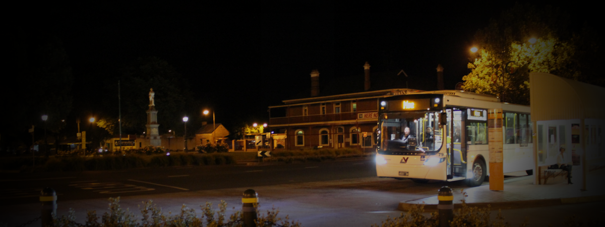 Latrobe Valley Bus Lines - Traralgon Plaza Bus Stop Night